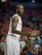 Nov 16, 2011; Fayetteville, AR, USA;  Arkansas Razorbacks forward Marshawn Powell (33) reacts to a play during a game against the Oakland Grizzlies at Bud Walton Arena. Arkansas defeated Oakland 91-68. Mandatory Credit: Beth Hall-US PRESSWIRE