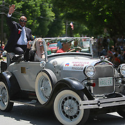 Boxer Marvin Hagler is seen in the parade of champions during the 2013 International Boxing Hall of Fame induction ceremony  on Sunday, June 9, 2013 in Canastota, New York.  (AP Photo/Alex Menendez)