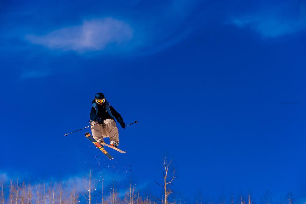 Skiing, Snowmass Terrain Park, Snowmass (Aspen) ski resort, Colorado USA.