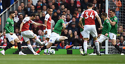 Arsenal's Henrikh Mkhitaryan hits the post
