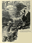 Wood engraving of The Fountain [Spring] of Afka (Apheca or Afeka), Lebanon from 'Picturesque Palestine, Sinai and Egypt' by Wilson, Charles William, Sir, 1836-1905; Lane-Poole, Stanley, 1854-1931 Volume 3. Published in by J. S. Virtue and Co 1883