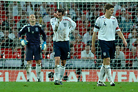 Photo: Richard Lane.<br /> England v Brazil. International Friendly. 01/06/2007. <br /> England's Jamie Carragher (c) shows his dejection as Brazil score a late equalising goal.