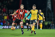 Arsenal Midfielder, Granit Xhaka (29) beats AFC Bournemouth Midfielder, Andrew Surman (6) to the ball during the Premier League match between Bournemouth and Arsenal at the Vitality Stadium, Bournemouth, England on 3 January 2017. Photo by Adam Rivers.