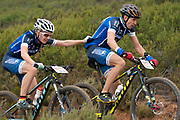 Sebastian STARK and Laura STARK of team TBR-Werner during the Prologue of the 2019 Absa Cape Epic of Team Mountain Bike stage race held at the University of Cape Town in Cape Town, South Africa on the 17th March 2019.<br /> <br /> Photo by Greg Beadle/Cape Epic<br /> <br /> PLEASE ENSURE THE APPROPRIATE CREDIT IS GIVEN TO THE PHOTOGRAPHER AND ABSA CAPE EPIC