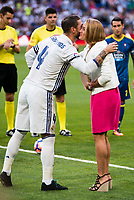 Real Madrid's player Sergio Ramos and spanish gold olympic swimmer Maria Belmonte during a match of La Liga Santander at Santiago Bernabeu Stadium in Madrid. August 27, Spain. 2016. (ALTERPHOTOS/BorjaB.Hojas)