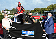 Ryan Ellliot on Tony Be, winner of Race 10, Barfoot & Thompson 1600.<br /> Vodafone Derby Day at Ellerslie Race Course, Auckland on Sunday 7th March 2021 during lockdown level 2.<br /> Copyright photo: Alan Lee / www.photosport.nz