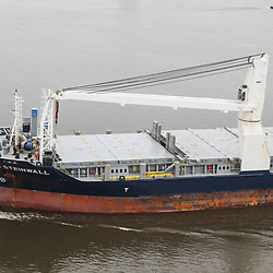 Aerial  view of BBc Steinwall Container Ship Delaware River, outside of Philadelphia