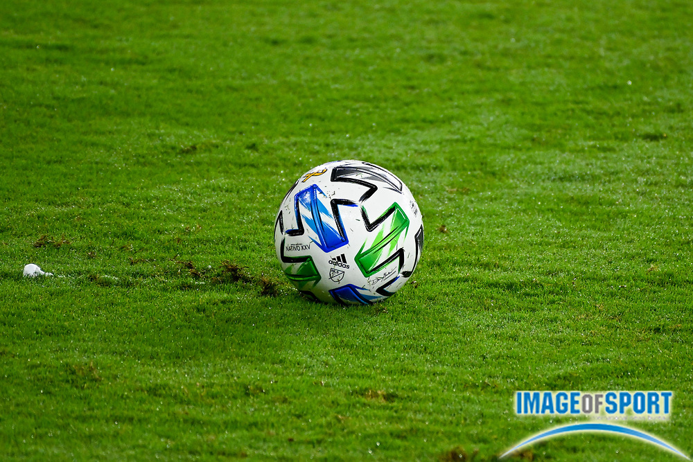 Detailed view of an Adidas MLS soccer ball during a MLS soccer game, Sunday, Sept. 27, 2020, in Los Angeles. The San Jose Earthquakes defeated LAFC 2-1.(Dylan Stewart/Image of Sport)