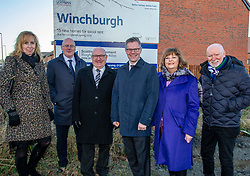 Pictured: Eileen Cook, Deputy Chief Executive West Lothian Council; John Hamilton, Winchburgh Development Ltd, David Dodds, West Lothian Council; Derek Mackay    Fiona Hyslop and Sir Tom Hunter<br /> Finance Secretary Derek Mackay headed to Winchburgh today to meet developers of new 3,450-home village. As well as the new homes, schools and other associated infrastructure will be built at Winchburgh. Derek Mackay met Sir Tom Hunter and Local MSP, Fiona Hyslop, the developers and West Lothian Council officials.<br /> <br /> Ger Harley | EEm 17 January 2019