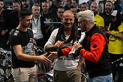 Ms Artrix's Massimo Gullone of Italy in the MBE award finals at Motor Bike Expo (MBE) bike show. Verona, Italy. Friday, January 17, 2020. Photography ©2020 Michael Lichter.