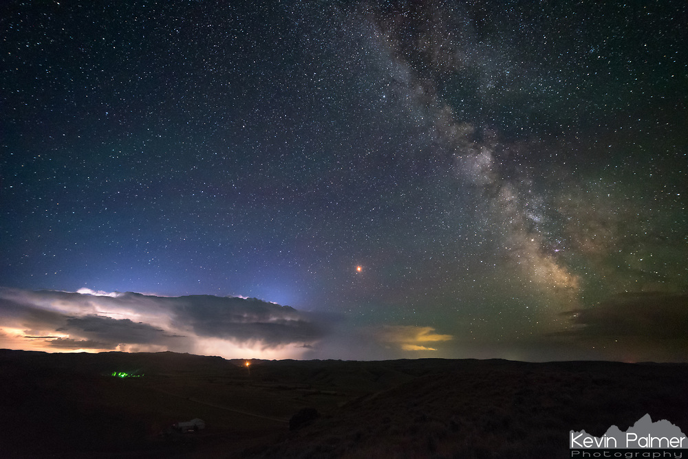 It was a beautiful night last night. A very active lightning storm receded into the distance underneath an otherwise clear and dark sky filled with stars. Mars was shining a brilliant red above the storm, and I was just barely able to fit the milky way in the frame.