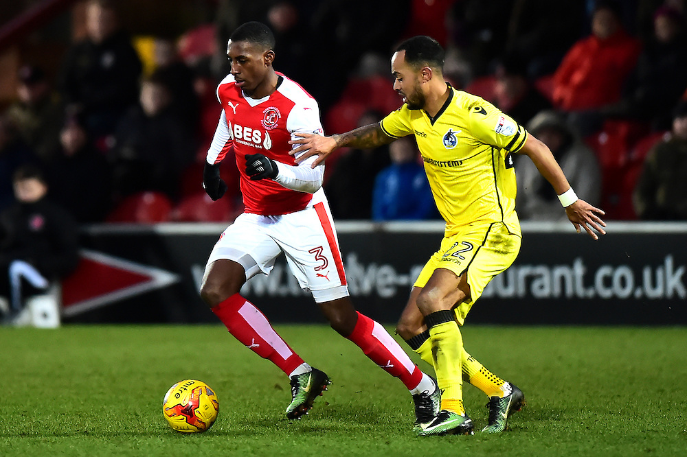 Fleetwood Town's Amari'i Bell vies for possession with Bristol Rovers' Byron Moore<br /> <br /> Photographer Richard Martin-Roberts/CameraSport<br /> <br /> The EFL Sky Bet Championship - Fleetwood Town v Bristol Rovers - Saturday 14th January 2017 - Highbury Stadium - Fleetwood<br /> <br /> World Copyright © 2017 CameraSport. All rights reserved. 43 Linden Ave. Countesthorpe. Leicester. England. LE8 5PG - Tel: +44 (0) 116 277 4147 - admin@camerasport.com - www.camerasport.com