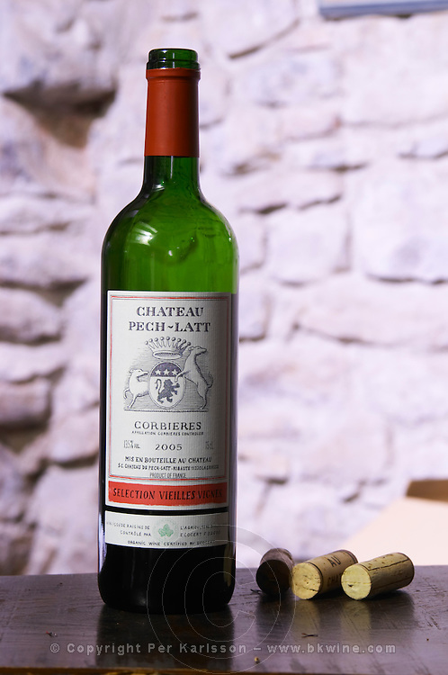 Red wine 2005 Selection Vieilles Vignes VV. Chateau Pech-Latt. Near Ribaute. Les Corbieres. Languedoc. France. Europe. Bottle.