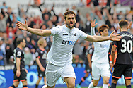 Fernando Llorente of Swansea city celebrates after scoring his teams 1st goal in the first half for Swansea City against Everton.<br /> Premier league match, Swansea city v Everton at the Liberty Stadium in Swansea, South Wales on Saturday 6th May 2017.<br /> pic by  Phil Rees, Andrew Orchard sports photography.
