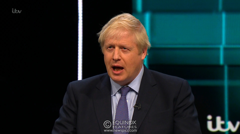 Broadcast TV, United Kingdom - 19 November 2019<br /> Labour leader Jeremy Corbyn and Prime Minister Boris Johnson debate live on ITV tonight as part of the 2019 general election campaign.<br /> (supplied by: Supplied by: EQUINOXFEATURES.COM)<br /> Picture Data:<br /> Contact: Equinox Features<br /> Date Taken: 20191119<br /> Time Taken: 212020<br /> www.newspics.com
