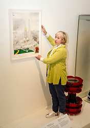 Pictured: Sue Jane Taylor makes final adjusstments to 'The Brent Field' on loan from Shell UK Limited<br /> Today, the National Museum of Scotland showcased the work of visual artist Sue Jane Taylor, whose Age of Oil exhibit presents engineering in an intricate yet accessible way.  <br />  <br /> Ger Harley | EEm 20 July  2017