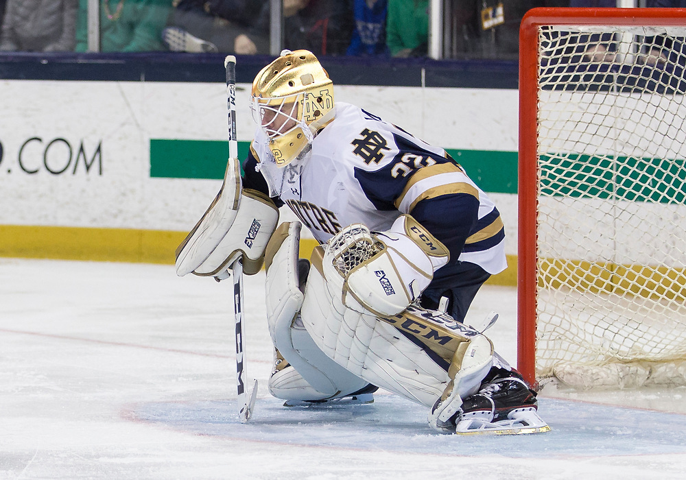 March 17, 2018:  Notre Dame goaltender Cale Morris (32) during NCAA Hockey game action between the Notre Dame Fighting Irish and the Ohio State Buckeyes at Compton Family Ice Arena in South Bend, Indiana.  Notre Dame defeated Ohio State 3-2 in overtime.  John Mersits/CSM