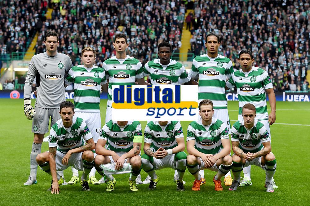 19/08/15 UEFA CHAMPIONS LEAGUE PLAY-OFF 1ST LEG<br /> CELTIC V MALMO<br /> CELTIC PARK - GLASGOW<br /> Celtic squad.<br /> <br /> Back Row (L/R): Craig Gordon, James Forrest, Nir Bitton, Dedryck Boyata, Virgil Van Dijk and Emilio Izaguirre.<br /> <br /> Front Row (L/R): Mikael Lustig, Scott Brown, Stefan Johansen, Stuart Armstrong and Leigh Griffiths.