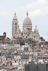 Crowded buildings with Montmartre in the distance, Sacre Coeur, Montmatre, Paris, France