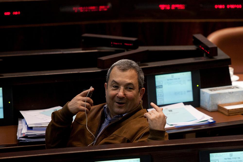 Israel's Defense Minister Ehud Barak attends a session of the Knesset, Israel's parliament in Jerusalem, on November 23, 2011.