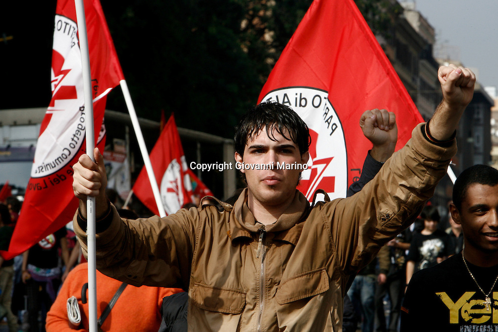 """Rome oct 17 2008 - Protest against Italian Government  proclaimed by labor union """"Cobas""""."""