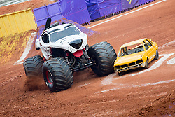 December 16, 2017 - Sao Paulo, Sao Paulo, Brazil - Monster Mutt in action during a round of racing. Monster Jam was held at Corinthians Stadium, in Sao Paulo, Brazil. (Credit Image: © Paulo Lopes via ZUMA Wire)