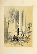 The Treasury, Petra, Jordan from The Holy Land: Syria, Idumea, Arabia, Egypt & Nubia by Roberts, David, (1796-1864) Engraved by Louis Haghe. Volume 3. Book Published in 1855 by D. Appleton & Co., 346 & 348 Broadway in New York.
