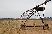 Wisconsin USA, Irrigation Robot at a field in rural countryside November 2006
