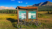 Mountain bikes at the Galloping Goose Trailhead sign, Uncompahgre National Forest, Colorado USA (MR)