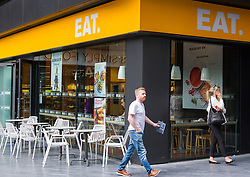 June 15, 2018 - London, London, United Kingdom - Eat. .Eat store at More London Place..Eat closes some stores but decides against CVA, as sales get a boost.Food and coffee chain Eat has averted the need for drastic restructuring by closing a handful of individual sites, in a rare bit of good news for the high street and the leisure sector. (Credit Image: © Gustavo Valiente/i-Images via ZUMA Press)