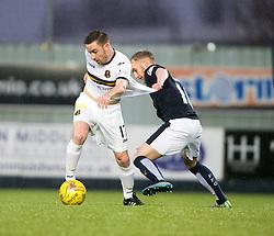 Dumbarton's Jon Routledge Falkirk's Craig Sibbald. <br /> Half time : Falkirk 1 v 0 Dumbarton, Scottish Championship game played 26/12/2015 at The Falkirk Stadium.