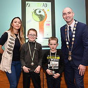05/03/2019<br /> Pictured are award winners from Meenkilly NS, Abbeyfeale Darragh Murphy, Aaron Morris, and John Roche, along with Sara Montoya, co-op member of Fairtrade Colombia, and Cllr Daniel Butler, Mayor of the Metropolitan District of Limerick.<br /> <br /> Fairtrade worker Sara Montoya, from a Fairtrade Coffee Co-op in Colombia was the special guest in Limerick City and County Council chamber today at an event to coincide with Fairtrade Fortnight.<br />  <br /> Sara joined Fairtrade supporters from across Limerick and Ireland for the annual initiative, which features a programme of talks and community events aimed at promoting awareness of Fairtrade and Fairtrade-certified products.<br />  <br /> Speaking at the event in Dooradoyle, Sara outlined the success and benefits of the Fairtrade movement in Colombia and how important it is for people in the developed world think of Fairtrade products when shopping.<br />  <br /> This year's campaign 'Create Fairtrade' invites us all to use our imagination and create fairtrade in our lives.<br />  <br /> Young people from across Limerick city and county were also a focus of the event as they displayed their posters, which they created to help change the way people think about trade and the products on our shelves.<br /> Photo by Diarmuid Greene