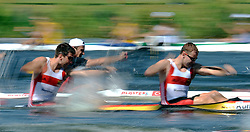 SOREN SCHUST & JONAS EMS (BOTH GERMANY) COMPETE IN MEN'S K2 200 METERS QUALIFICATION RACE DURING 2010 ICF KAYAK SPRINT WORLD CHAMPIONSHIPS ON MALTA LAKE IN POZNAN, POLAND...POLAND , POZNAN , AUGUST 21, 2010..( PHOTO BY ADAM NURKIEWICZ / MEDIASPORT ).