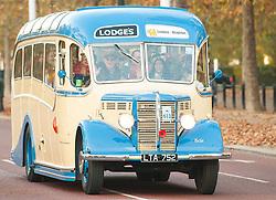 EDITORIAL USE ONLY Chris Evans driving a vintage bus during the Bonhams London to Brighton Veteran Car Run in London.