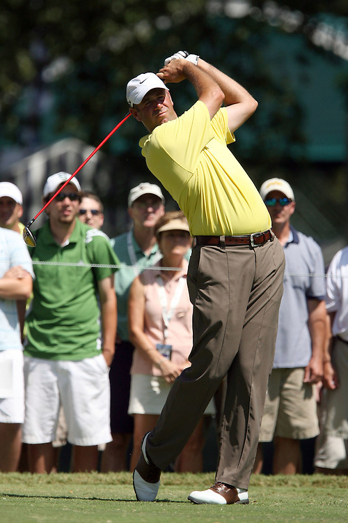 09 August 2007: Stewart Cink tees off on the 4th hole during the first round of the 89th PGA Championship at Southern Hills Country Club in Tulsa, OK.