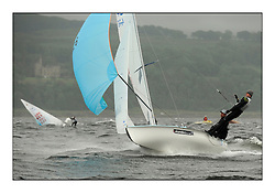 470 Class European Championships Largs - Day 2.Wet and Windy Racing in grey conditions on the Clyde...GBR826, Ben PALMER, Tim CARTER, Hayling Island Sailing Club...