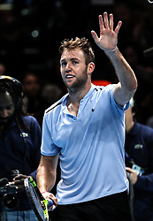 2017?11?14?.    ?????7???——ATP?????????????.       11?14???????????.       ???????????ATP??????????????????????????2?1????????????.       ???????????????.(SP) BRITAIN-LONDON-TENNIS-ATP FINALS-SOCK VS CILIC.(171114) -- LONDON, Nov. 14, 2017  Jack Sock of the United States celebrates after the singles round-robin match against Marin Cilic of Croatia during the Nitto ATP World Tour Finals at O2 Arena in London, Britain on Nov. 14, 2017. Jack Sock Won 2-1. (Credit Image: © Tang Shi/Xinhua via ZUMA Wire)