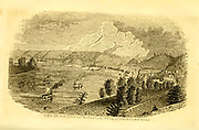 View of the City of Maysville, KY from Germantown Road from the book ' Historical Sketches Of Kentucky (1847) ' ITS HISTORY, ANTIQUITIES, AND NATURAL CURIOSITIES, GEOGRAPHICAL, STATISTICAL, AND GEOLOGICAL DESCRIPTIONS. WITH ANECDOTES OF PIONEER LIFE By Lewis Collins. Published by Lewis Collins, Maysville, KY. and J. A. & U. P. James Cincinnati. in 1847