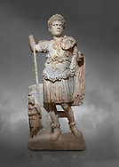 Roman statue of Emperor Caracalla. Marble. Perge. 2nd century AD. Inv no  2014/194. Antalya Archaeology Museum; Turkey.  Against a grey background<br /> <br /> Caracalla Roman emperor from 198 to 217 AD. He was a member of the Severan Dynasty, the elder son of Septimius Severus and Julia Domna. Co-ruler with his father from 198, he continued to rule with his brother Geta, emperor from 209, after their father's death in 211. He had his brother murdered later that year, and reigned afterwards as sole ruler of the Roman Empire. .<br /> <br /> If you prefer to buy from our ALAMY STOCK LIBRARY page at https://www.alamy.com/portfolio/paul-williams-funkystock/greco-roman-sculptures.html . Type -    Antalya     - into LOWER SEARCH WITHIN GALLERY box - Refine search by adding a subject, place, background colour, museum etc.<br /> <br /> Visit our ROMAN WORLD PHOTO COLLECTIONS for more photos to download or buy as wall art prints https://funkystock.photoshelter.com/gallery-collection/The-Romans-Art-Artefacts-Antiquities-Historic-Sites-Pictures-Images/C0000r2uLJJo9_s0