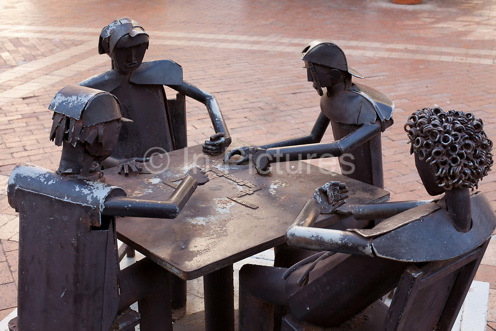 Metal iron sculptures in San Pedro Claver Plaza, Cartagena historic old city UNESCO World heritage site, capital of Bolivar department, Colombia.