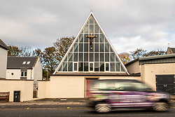 Pictured: St Margaret's RC Church in Davidson Mains next to Cramond.<br /><br />The leaves are turning along the River Almond, Cramond, which leads to the River Forth.  Heavy rain as increased the flo and dynamics of the river<br />Ger Harley | EEm 5 November 2019