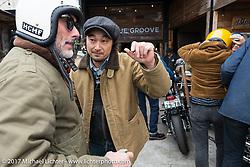 "Takemitsu ""Taku"" Yashiro and Vincent Prat on Taka's Blue Groove shop ride from Kamakura to Miura Penninsula. Japan. Monday December 4, 2017. Photography ©2017 Michael Lichter."