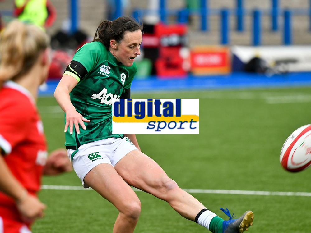 Rugby Union - 2021 Women's Six Nations - Group B - Round Two - Wales vs Ireland - Cardiff Arms Park<br /> <br />  Hannah Tyrrell (Old Belvedere/Leinster) of Ireland chips ahead for  Beibhinn Parsons (Ballinasloe/Blackrock College/Connacht)of Ireland to catch & score<br /> <br /> COLORSPORT/WINSTON BYNORTH
