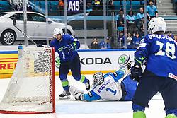 Anze Kuralt of Slovenia celebrates after scoring a goal and Henrik Karlsson of Kazakhstan during ice hockey match between Slovenia and Kazakhstan at IIHF World Championship DIV. I Group A Kazakhstan 2019, on April 29, 2019 in Barys Arena, Nur-Sultan, Kazakhstan. Photo by Matic Klansek Velej / Sportida