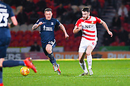 Ben Whiteman of Doncaster Rovers (8) and Simon Cox of Southend United (10) in action during the EFL Sky Bet League 1 match between Doncaster Rovers and Southend United at the Keepmoat Stadium, Doncaster, England on 12 February 2019.