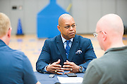 Dallas Wings head coach Fred Williams visits with the media during the team media day in Arlington, Texas on May 5, 2016.  (Cooper Neill for The New York Times)
