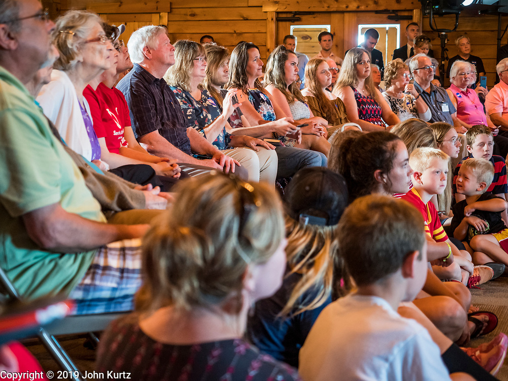 16 JULY 2019 - MANNING, IOWA: VPeople listen to former Vice President Joe Biden speak during a campaign event in western Iowa. Vice President Biden spoke to a crowd of about 250 people in Manning Tuesday morning. Biden is running to be the Democratic nominee for President in 2020. Iowa holds the first selection event of the 2020 election cycle. The Iowa Caucuses are on February 3, 2020.        PHOTO BY JACK KURTZ