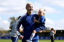 Chelsea's Bethany England and her niece before the FA Women's Super League match at Kingsmeadow, London.