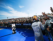 Hungarian Grand Prix 2013<br /> our best selection from Award winning Photographer Darren Heath.<br /> Lewis Hamilton celebrates winning<br /> ©Darren Heath/Exclusivepix
