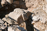 The wedge shaped voussoirs in an ancient arch. Photographed at Zippori Israel